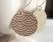 White and Gold Wave Origami Small Earrings