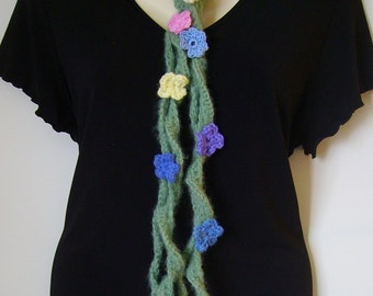 Crocheted scarflette in mohair with multicolored flowers//Gift for her