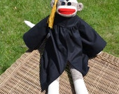 Classic Graduation Sock Monkey Doll Dressed in Cap and Gown with Custom Color Tassle. Graduation Gift