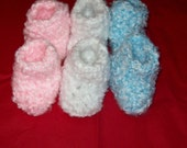 Baby Bootie Socks Your Choice Of Pink, White, Blue - amydscrochet