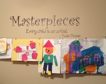 Masterpieces Decal ~Every Child Is An Artist  ~Masterpieces Wall Decal ~Playroom Decal ~Playroom Decor ~Child Wall Decal~My Masterpieces