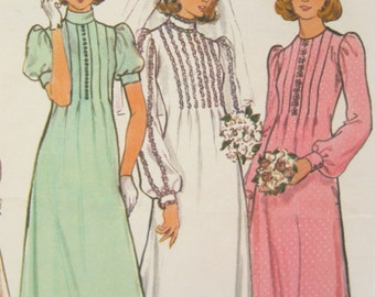 Butterick 4035 Wedding or Bridesmaid Pleated Dress Vintage Sewing Pattern Bust 38