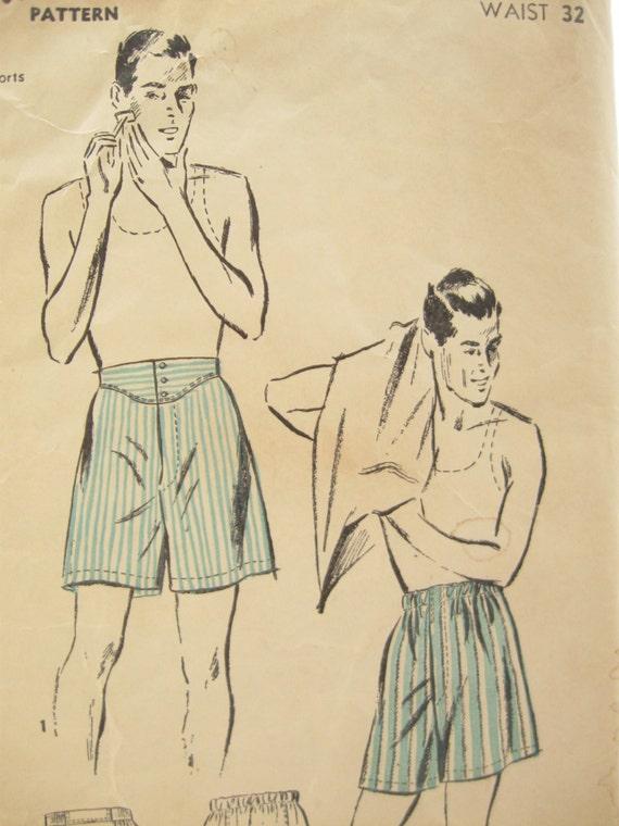 Advance 2819 Rare 1940s Mens Underwear Pattern Vintage
