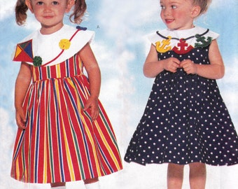 90s Toddler Girl Sailor Dress Pattern Nautical Girls Sewing Pattern Butterick 4955 Size 1 2 3 Chest 20 21 22 inches