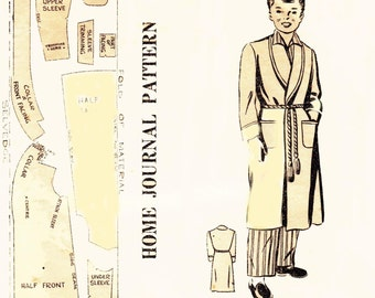 40s Boys Robe or Dressing Gown Pattern  Vintage Antique Sewing pattern Size 8 Chest 26 inches UNUSED Factory Folds