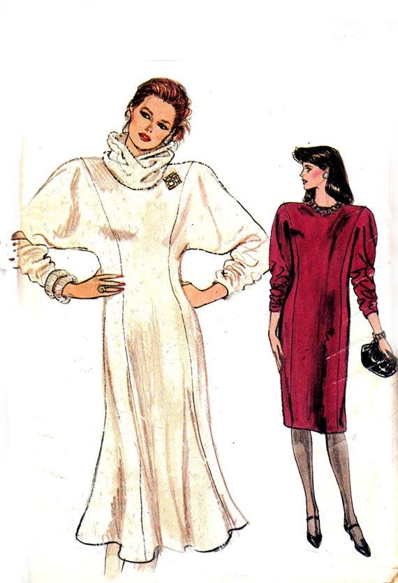 80s Batwing Dress Pattern Vogue 9061 Vintage Size 8 10 12 Bust 31 1/2 32 1/2 34 UNCUT FF