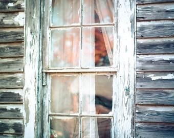 Rustic Window Photography old homestead ghost small town simple life pane beige barn weathered farm - Windowpane - fine art photograph