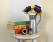 Modern Royalty; Large Paper Flowers in Plum Purple, Yellow and Ivory; Purple and Gold Decor; Housewarming Gift
