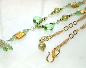 OOAK Tassel Collection - Dragon Eyes Green Gold Crystal Peridot Freshwater Pearl Quartz Necklace Hamilton Gold Chain Vermeil Gold Clasp