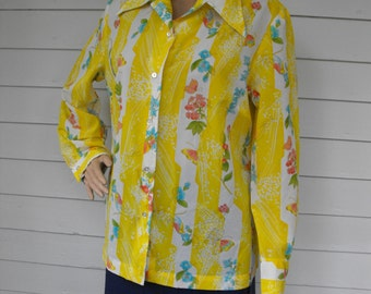 Hippie Yellow Print Blouse Birds Floral Butterflies Alex Coleman Top 70s Vintage L XL