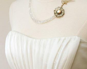 Frozen Petals. Statement Vintage Rhinestone Necklace from Flower Pin.