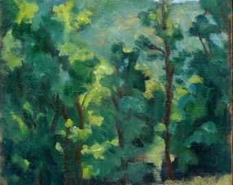 Treeline Sparkle, Berkshires in Spring. Oil on Canvas, 12x8 Plein Air Impressionist Landscape, Strip Framed Fine Art, Signed Original