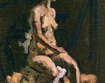 Seated Female Nude, Twist. Small Original Oil Sketch on Canvas, Realist Figure Painting
