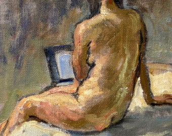 Twist, Female Nude. Oil on Canvas, 6x8 Classic Figure Painting, Small Signed Original Oil Painting Fine Art