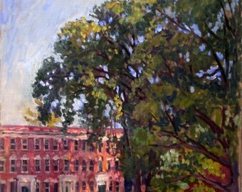 Williams College, September Study. Oil Painting Landscape, 16x20 Berkshires Impressionist Oil on Canvas, Signed Original Fine Art