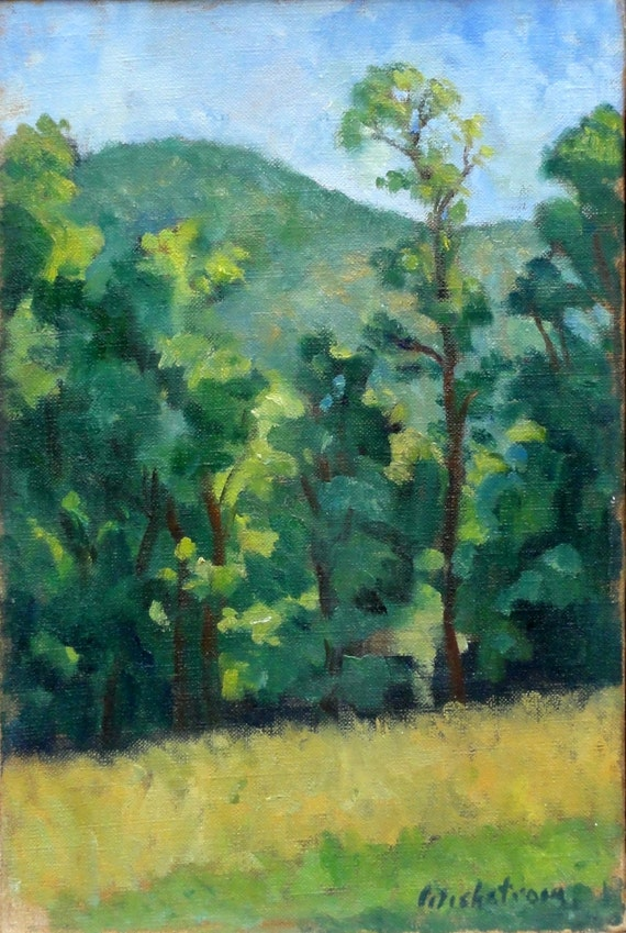 Treeline Sparkle, Berkshires in Spring. Oil on Canvas, 12x8 Plein Air Impressionist Landscape, Strip Framed Fine Art, Signed Original
