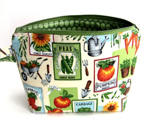 Zippered Wristlet Pouch/Makeup Bag/Clutch/Purse - Garden Theme Seed Packets