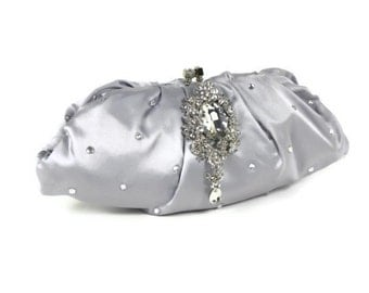 Silver Bridal Clutch, Vintage Style Clutch, Bridesmaids Clutch, Evening Bag with Floral Dangling Brooch