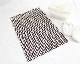 Brown Houndstooth Waterproof Changing Pad - large