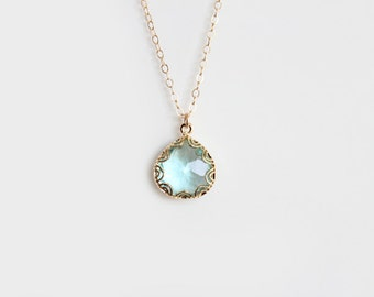Blue Glass Pendant Necklace - Grace - Gold - SALE