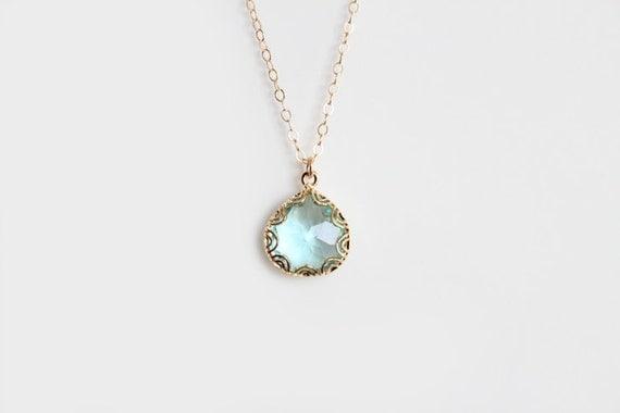 Blue Glass Pendant Necklace - Grace - Gold - SALE
