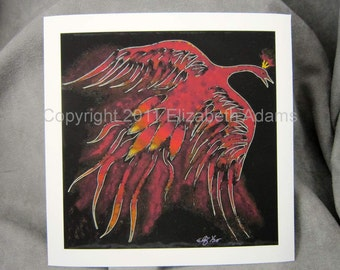 Creature of Fire-- 6X6 Firebird Print unmatted