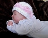 Beautiful.... Newborn up to 3 month... Girl Cap...Sweet Baby ROSE...PHOTOGRAPHERS...White with Pink Rose trim...Ready to Ship