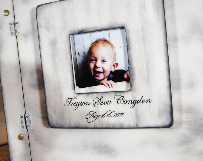 Shabby Chic Rustic Wedding or Baby Album or Guest Book alternative with Personalized Print and photo slot
