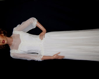 SC Vintage 40s White Dress / Art Deco Revival White Gown / 1940s 1950s Wedding Dress Size XS S