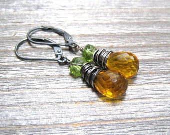 Citrine And Peridot Earrings, Sterling Silver, August Brithstone, Wire Wrapped, November Birthstone Jewelry