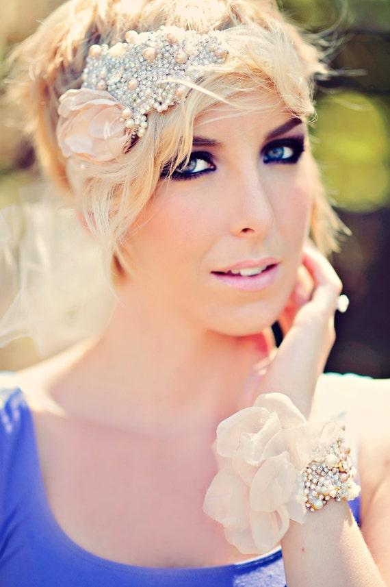 Dusty Rose Bridal Headband Vintage Wedding Swarovski Crystal