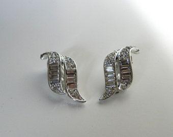 Vintage Earrings Deco style 40s 50s ASTRA Rhinestine Earrings -mint- on sale