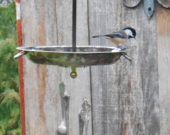 Bird Feeder Wind Chime, silver plate dish and silverware windchime , garden decor