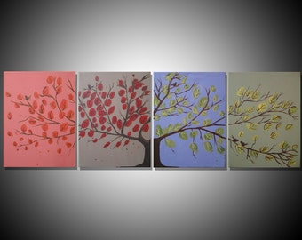 "landscape painting canvas triptych wall art three panel""Seasons"" gallery abstraction contemporary art tree of life 64 x 20 """
