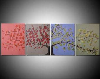 extra large wall art landscape acrylic painting canvas original triptych three panel four season 365 days love tree of life 54 x 24,72 x 36