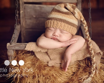 Newborn photo prop, newborn hat, newborn boy, newborn girl, knit newborn hat, newborn props, newborn elf hat with long toggle.