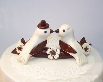 Custom Love Bird Wedding Cake Topper Birds - Birds on Dogwood Flowering Branch - Fully Custom Made - Shown in Dark Brown and White Ivory
