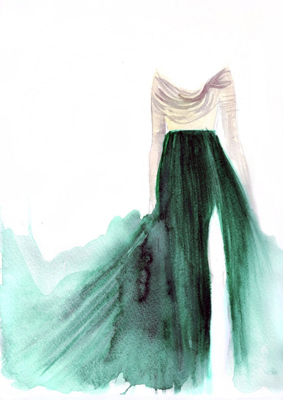 Watercolour illustration Titled The Girl in the Emerald Skirt