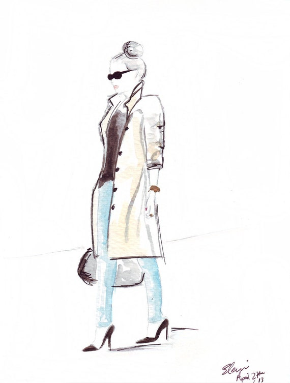 Watercolour Fashion illustration Titled The Trench