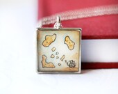 Treasure Island necklace -- RETIRING JUNE 6 -- hand painted jewelry, pirate map necklace, map pendant, book lover jewelry