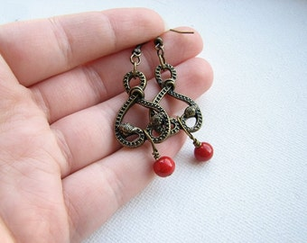 Snake earrings | serpent | brass | tribal | red | bohemian | heart | final sale
