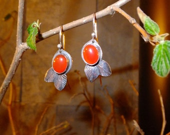Small Sterling Silver Silversmithed Leaf Earrings with Two Tiny Leaves and Carnelian Cabochons