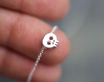 Silver Skull Necklace, Tiny Silver skull on sterling silver necklace, dainty skull charm, silver skull