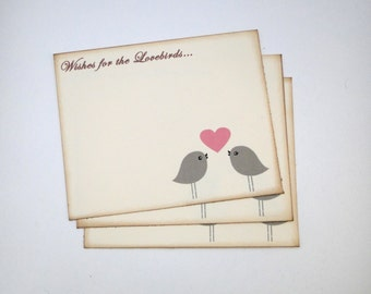 Wedding Guest Book Alternative Cards - Set of 50 - Grey and Pink Love Birds