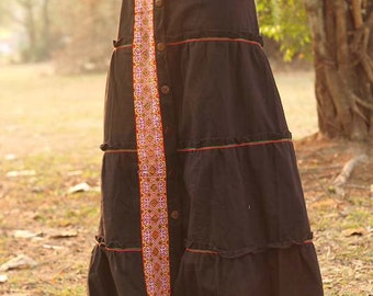 100 percent cotton maxi skirt tiers for Women in natural brown colour