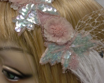Flapper Headpiece, Great Gatsby, 1920s Headband, Jazz Age, Pink and Mint Bead and Sequin Flapper Headpiece Headband for Prom or Bride OOK