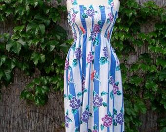 Vintage 70s / Floral Print / Striped / Sun Dress  / Small