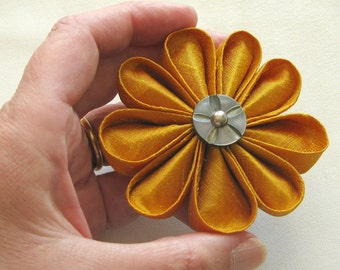 Sunny Gold Silk Kanzashi Flower Pin with Fancy Carved Mother of Pearl Vintage Button