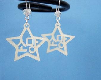 Korean Hangul Earrings Wish (Somang) Ivory