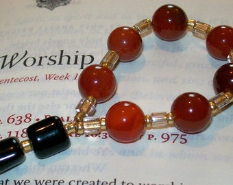 Ecumenical Episcopal Anglican Protestant Prayer Bead Chaplet - Red Carnelian - Goldtone - Black